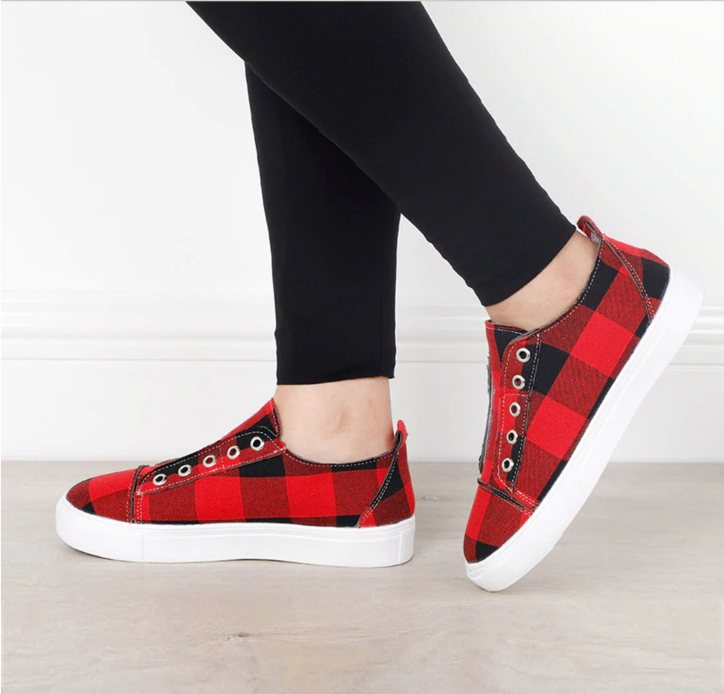 Plaid Slip - On Round Toe Flat Sneakers [Last Day Promotion 50% OFF]