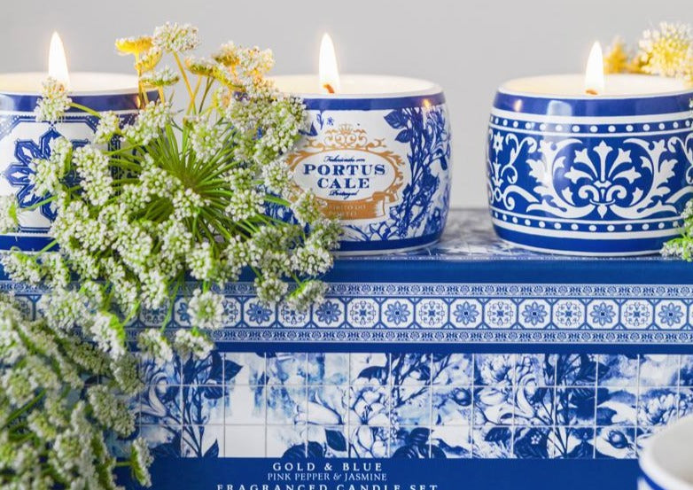 Portus Cale Gold&Blue Tea Light Candle Gift Set
