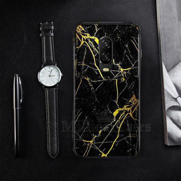 OnePlus 6T Gold Dust Texture Marble Glass Case