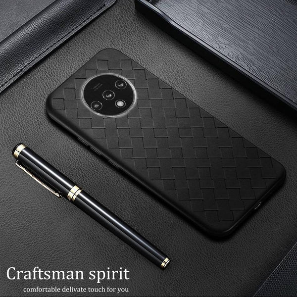 OnePlus 7T (3 in 1 Combo) Grid Weaving Case + Tempered Glass + Camera Lens Guard