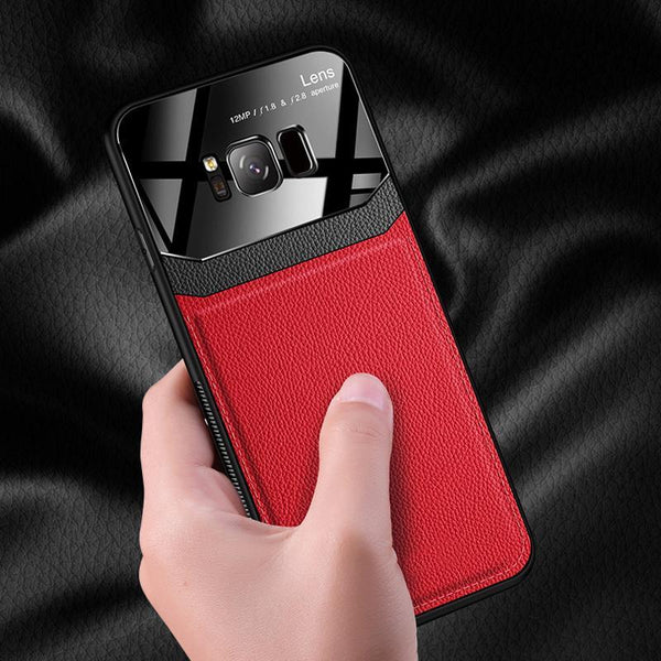 Galaxy S8 Plus Sleek Slim Leather Glass Case