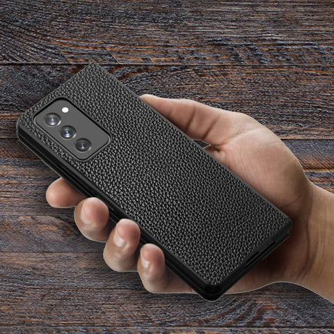 Galaxy Z Fold2 Leather Business Style Canvas Hybrid Case