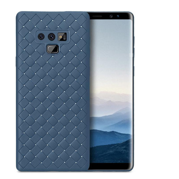 Galaxy Note 9 (3 in 1 Combo) Grid Weaving Case + Tempered Glass + Earphones