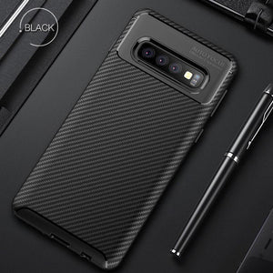 Galaxy S10 Plus Frosted Carbon Fiber Shockproof Soft Case
