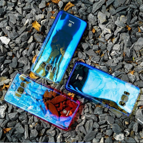 Galaxy S8/S8 Plus (3 in 1 Combo) Aura Gradient Case +Tempered Glass + Earphones