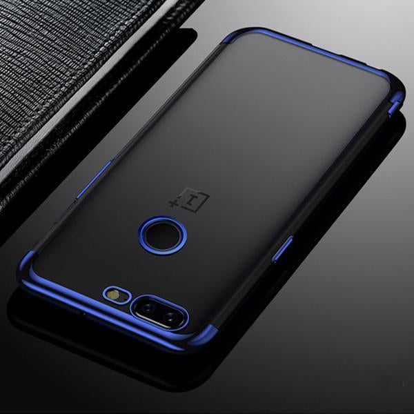 OnePlus 5T (3 in 1 Combo) Transparent Glitter Case + Tempered Glass + Earphones