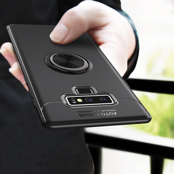 Galaxy Note 9 (3 in 1 Combo) Ring Holder Matte Case + Tempered Glass + Earphones