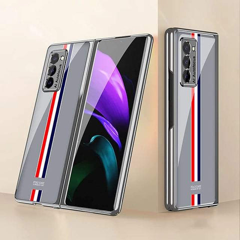 Galaxy Z Fold2 Luxury Colored Strap Glass Case