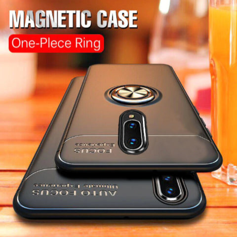 OnePlus 6T - (3 in 1 Combo) Ring Case +  Screen Protector + Lens Shield