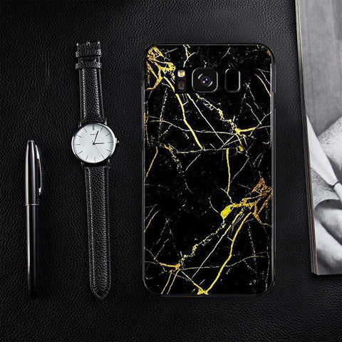 Galaxy S8 Plus (3 in 1 Combo) Gold Dust Case + Tempered Glass + Earphones