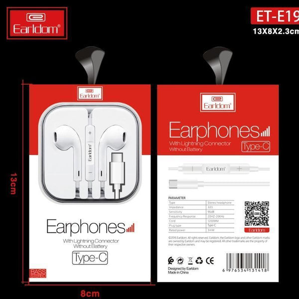 Earldom ® Type-C Wired Stereo Earphones