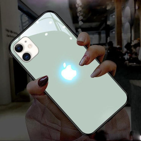 iPhone 12 LED Logo Glass Back Case