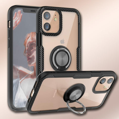 iPhone 12 Shockproof Transparent Metallic Ring Holder Case