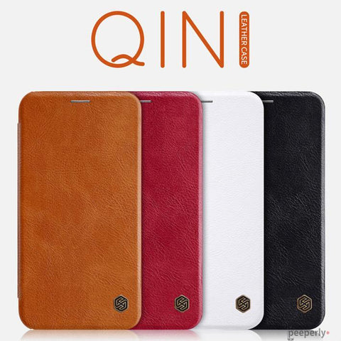iPhone XS Genuine QIN Leather Flip Case