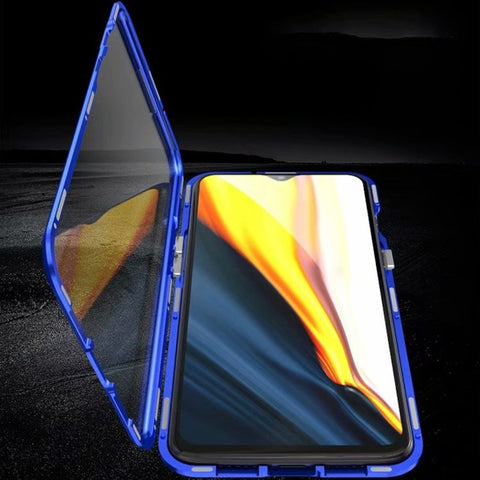 OnePlus 6T (3 in 1 Combo) Double Magnetic Case + Tempered Glass + Camera Lens Guard