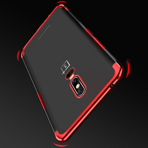 OnePlus 6 (3 in 1 Combo) Transparent Glitter Case + Tempered Glass + Camera Lens Guard