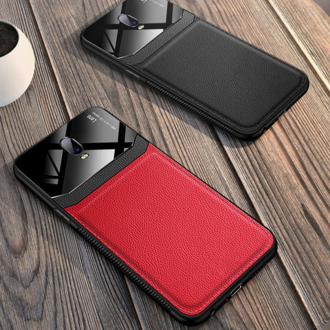 OnePlus 6T (3 in 1 Combo) Leather Lens Case + Tempered Glass + Camera Lens Guard