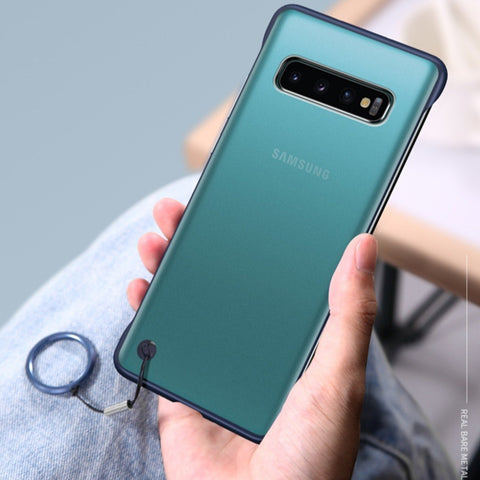 Galaxy S10 Plus (3 in 1 Combo) Frameless Transparent Case + Tempered Glass + Camera Lens Guard