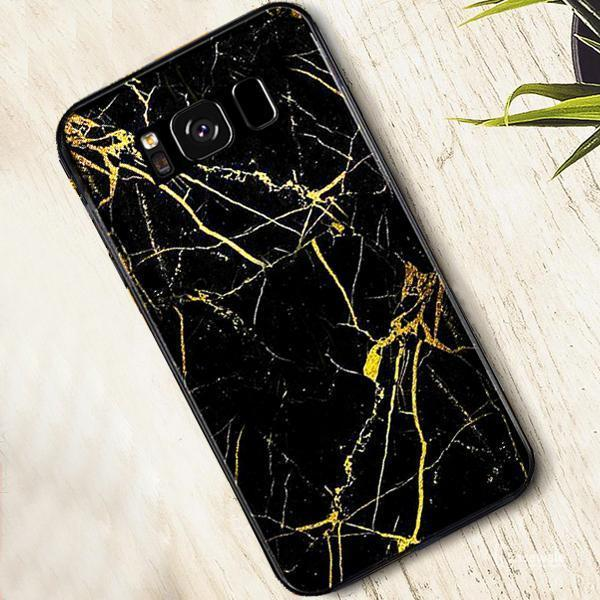 Galaxy S8 (3 in 1 Combo) Gold Dust Case + Tempered Glass + Earphones