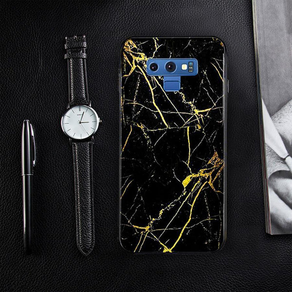 Galaxy Note 9 (3 in 1 Combo) Gold Dust Case + Tempered Glass + Earphones
