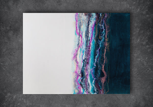 Sierra is an original piece of resin art by Siroh & Ivy on wood panel with a bright white half and a dark green half separated by textured ridges of pink, gold, black, and blue