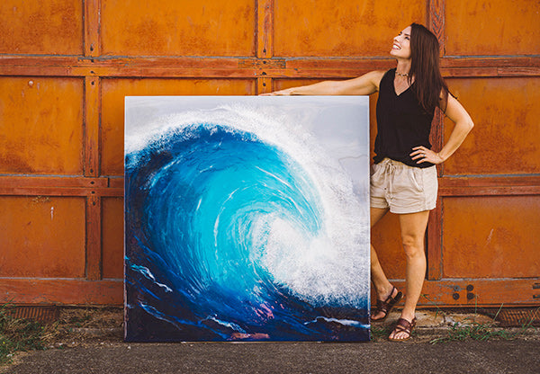 Hokusai is an original piece of resin art from Siroh & Ivy that depicts a standing ocean wave with dark and light blues and white lacing foam on a grey background