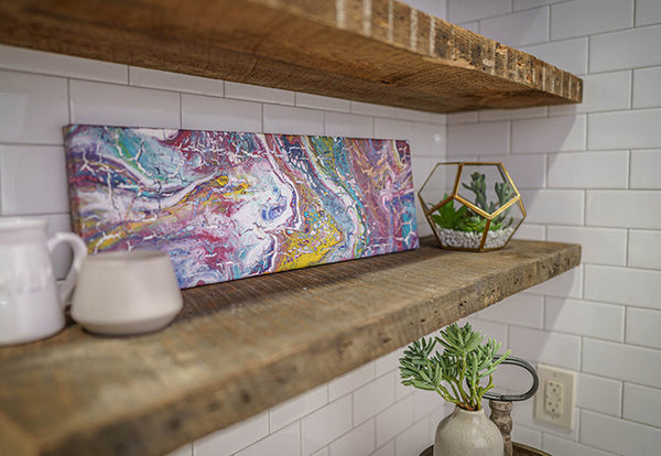 The Untouchable original acrylic pour painting by Siroh & Ivy on canvas on modern wood kitchen shelf