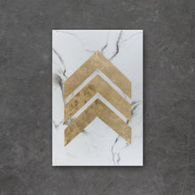 Load image into Gallery viewer, A.L.U. is an original piece of high-end resin art from Siroh & Ivy that features white and deep grey marble with a large gold leaf chevron pattern running down the center