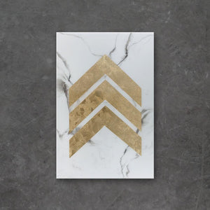 A.L.U. is an original piece of high-end resin art from Siroh & Ivy that features white and deep grey marble with a large gold leaf chevron pattern running down the center
