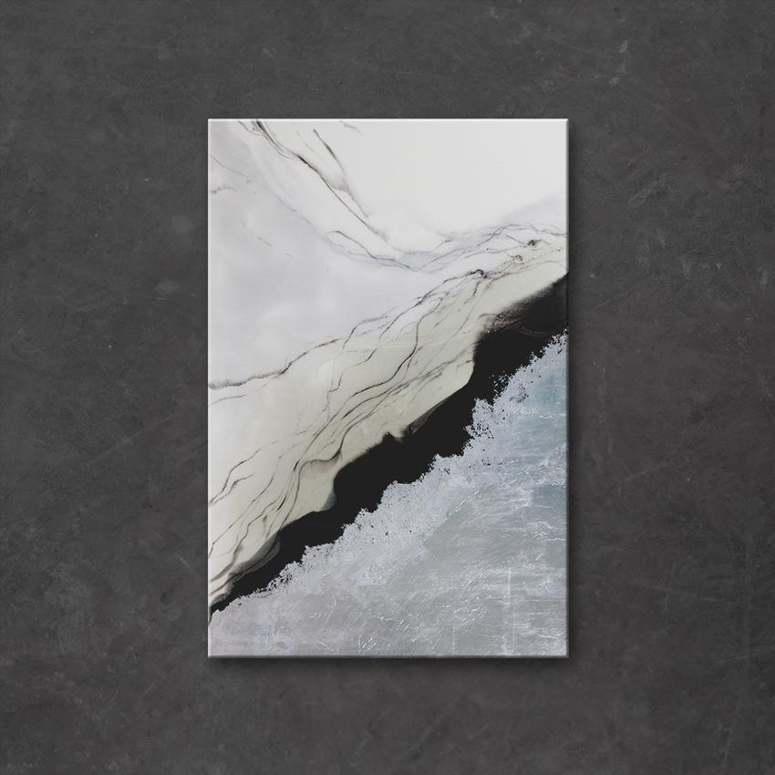 Quicksilver is a piece of high-end resin art from Siroh and Ivy on a rectangular canvas with high-contrasting areas of silver leafing, black, grey, and white colors