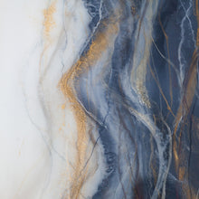 Load image into Gallery viewer, Sahara is an original piece of high-end resind art from Siroh & Ivy and features two juxtaposing sides of pure white and pale grey blue bisected by marbled lines of gold, champagne, grey, and dark blue