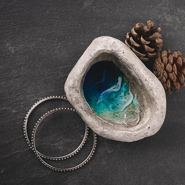 Small natural cement jewelry dish with blue, aqua, and white ocean design, original hand painted resin art from Siroh & Ivy