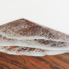 Load image into Gallery viewer, Solid dark wood cheese board with white lacing resin ocean foam from Siroh & Ivy