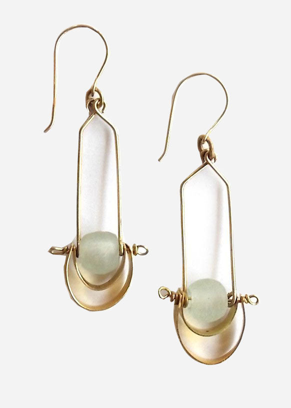 White Bahari Cascading Brass Earrings
