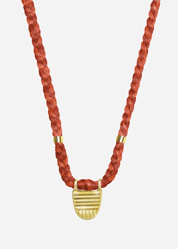Burnt Orange Vermeil Buddhist Flag Necklace