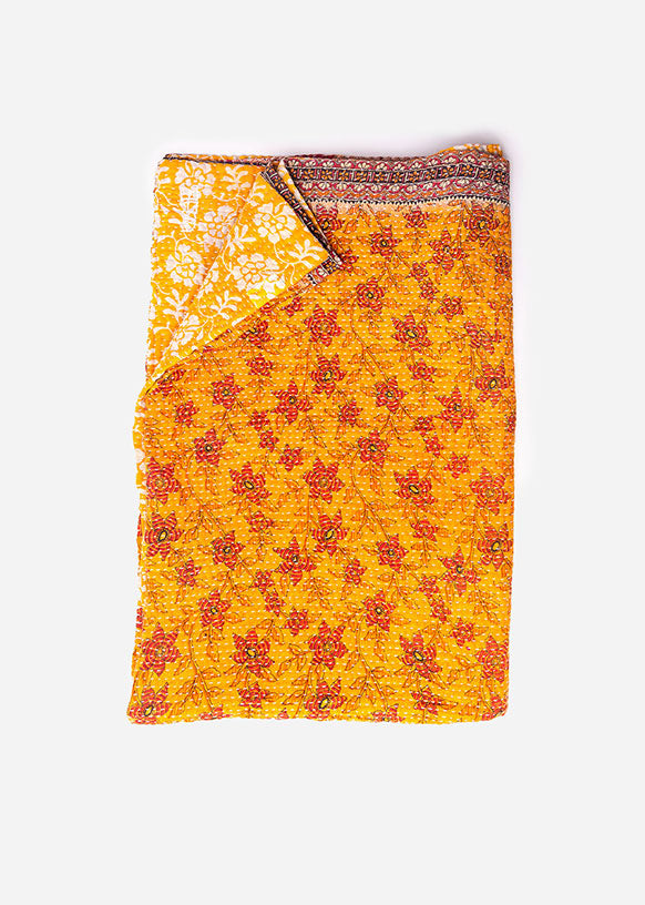 Burnt Orange and Red Kantha Throw