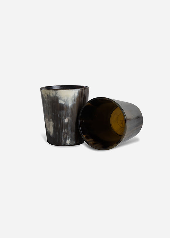 Dark Cow Horn Whiskey Tumbler Set