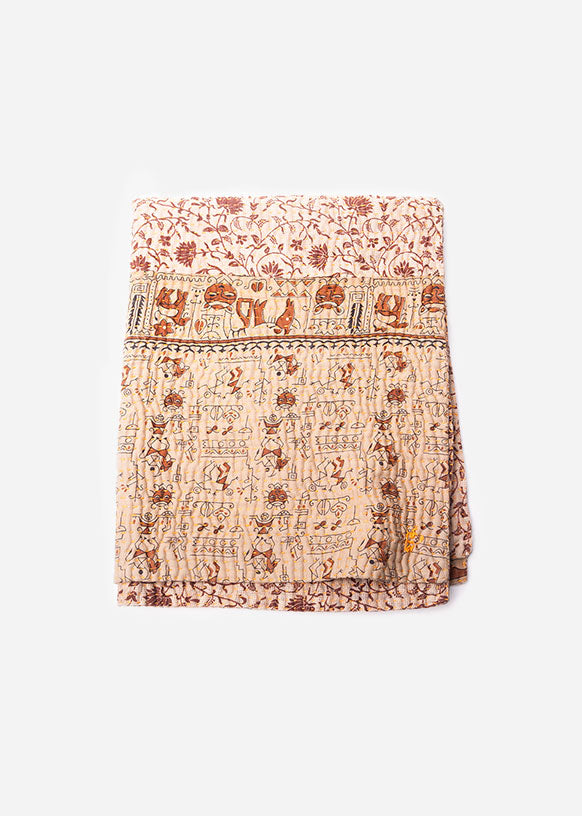 Small Floral and Hieroglyphic Patterned Quilt