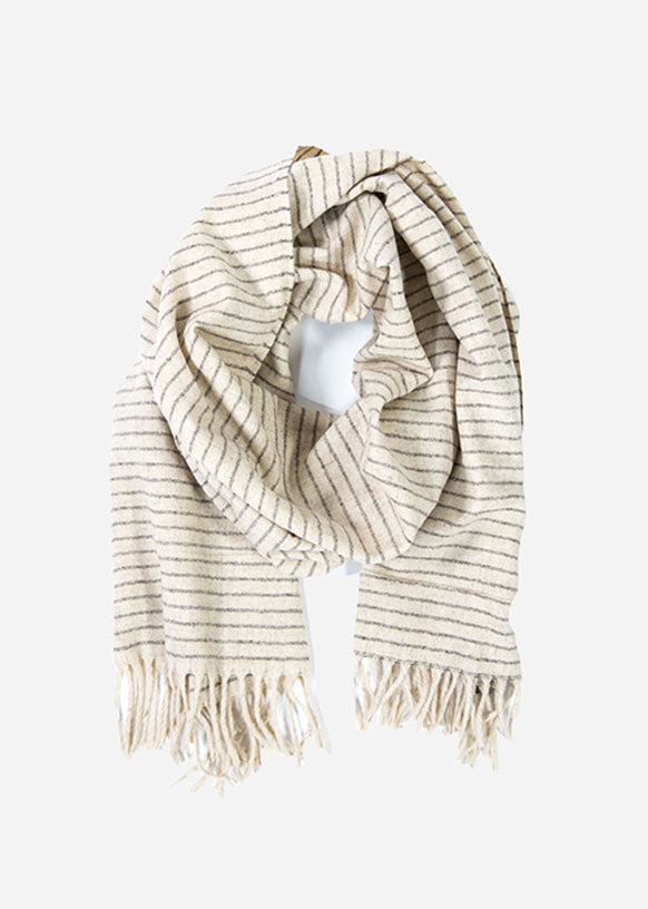 Ivory & Grey Loomed Wool Scarf