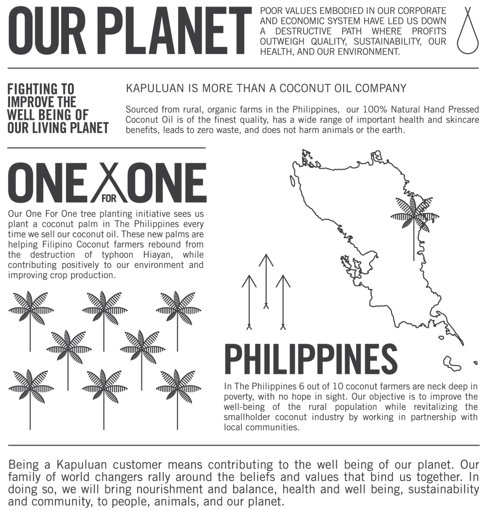 Kapuluan Coconut One for One Infographic