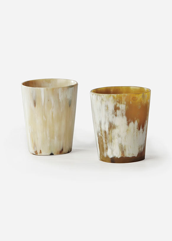 Light Cow Horn Whiskey Tumbler Set