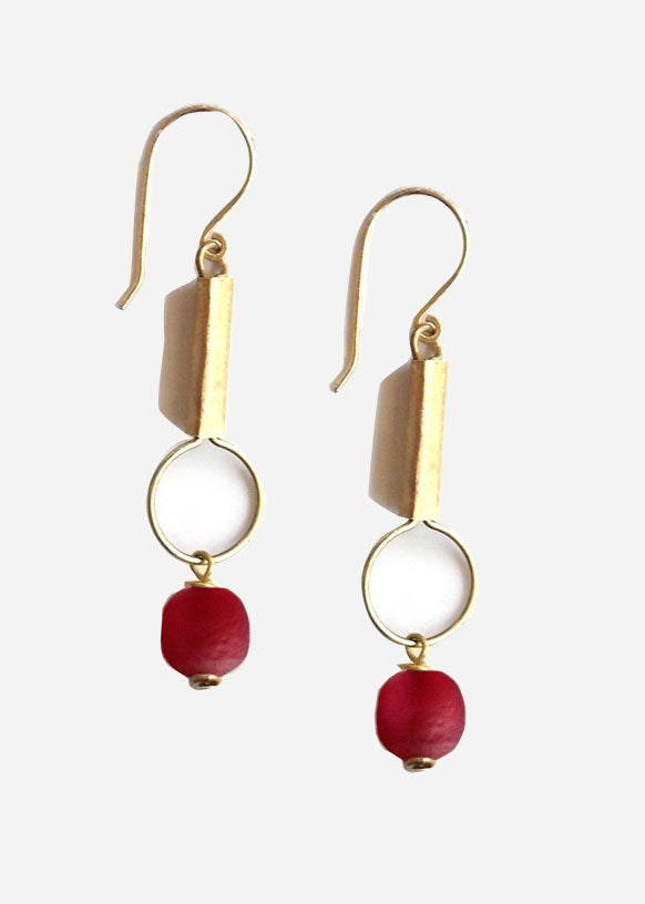 Red Mvua Glass Bead Drop Earrings