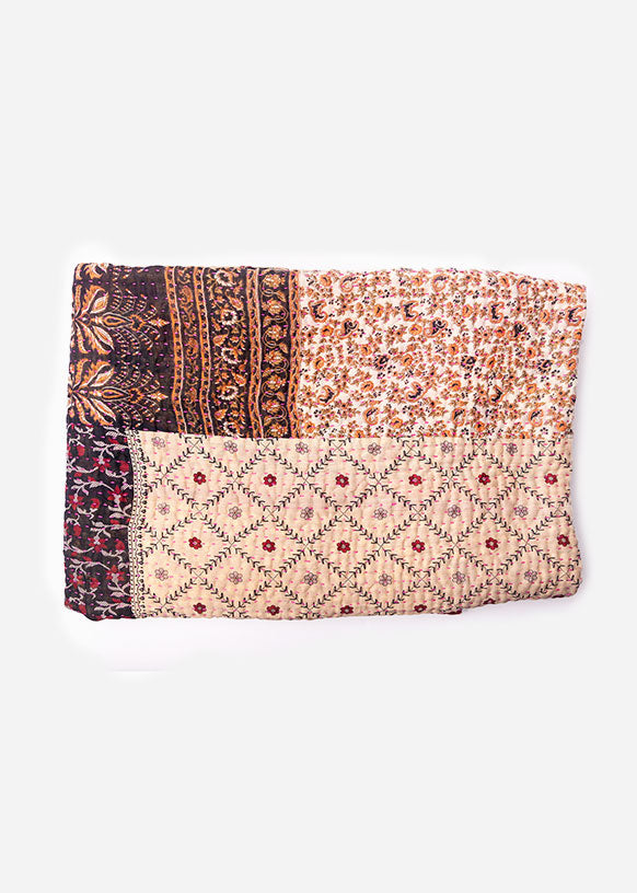 Pink and Beige Floral Kantha Throw