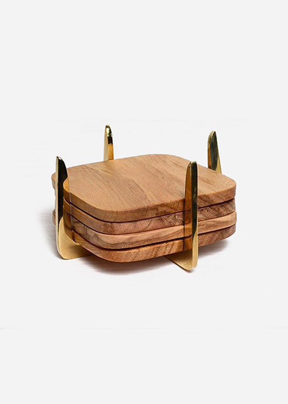 Brass & Teak Coaster Set