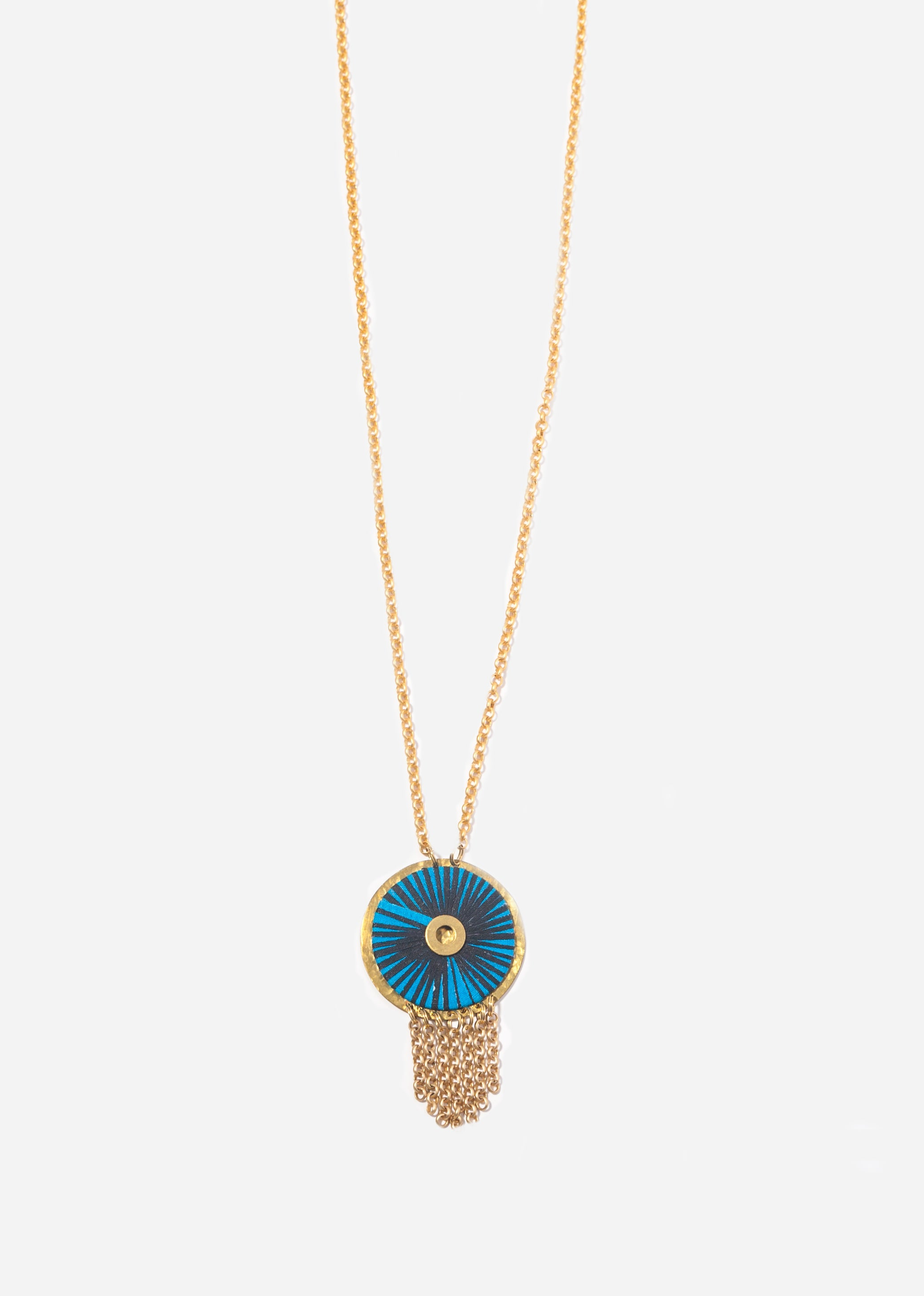 Aubrey Safari Long Fringe Medallion Necklace