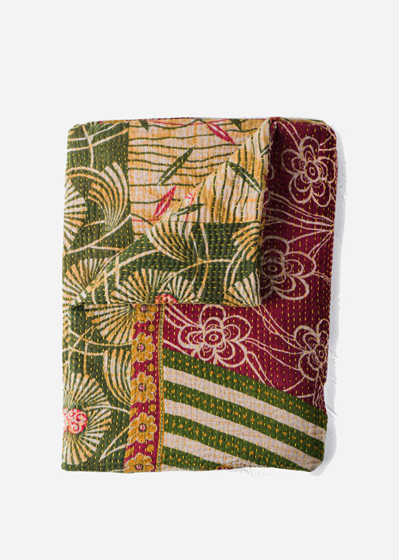 Maroon and Green Floral Quilt