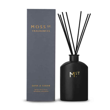 Black sage & cedar diffuser pictured next to it's gift box