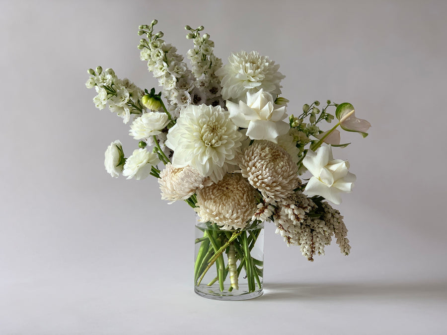 White floral bouquet in vase
