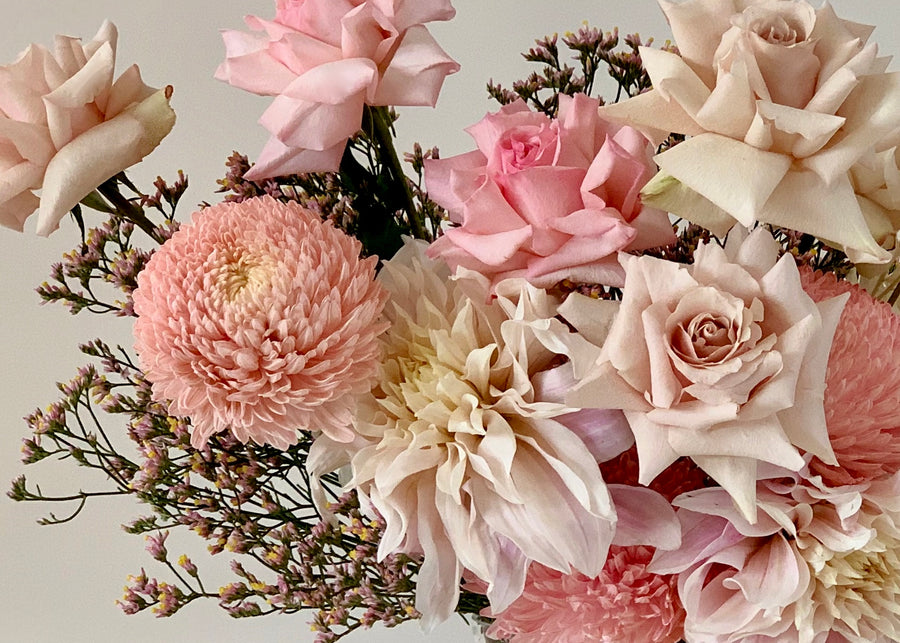 Blush toned flower bouquet close up