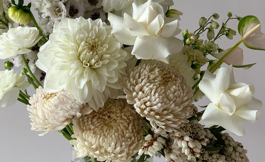 White floral bouquet close up